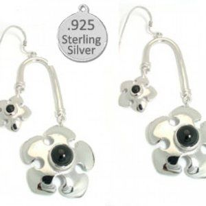 Black Onyx Sterling Silver Flower Earring NWT